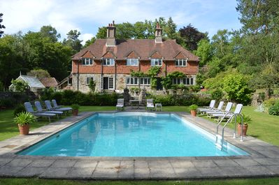 Swimming pool looking towards the terrace and house