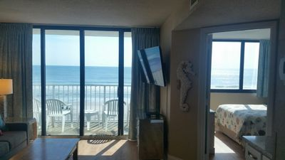 "View from Family Room to Beach with new 52"" Flat Screen Smart TV, new sectional"