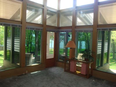 View from the Loft thru the Great Room then the Sunroom to the Lake