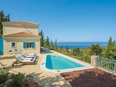 Photo for Walking distance to restaurants and bakery.10 minute drive to sandy Pefkoulia beach, eco-friendly villa, chlorine-free pool, stunning sea views.