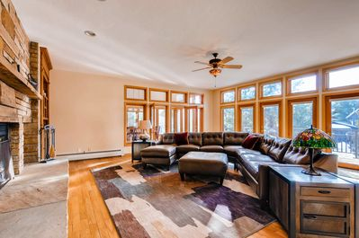 TimberLane Lodge - Great Room with excellent views and wood-burning fireplace