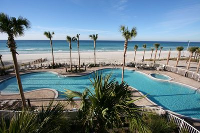 This is the pool and beach area. Our unit is on the 19th floor.