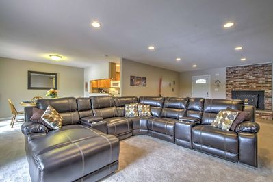 You can look forward to sprawling out on this leather sectional sofa.