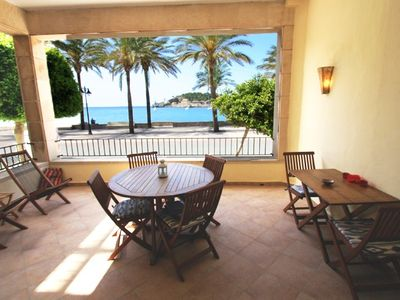 Photo for Waterfront apartment in Port de Soller. 10 meters to the beach. Free wifi.