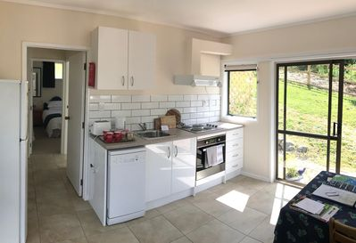 Newly updated kitchen facilities include a diswasher