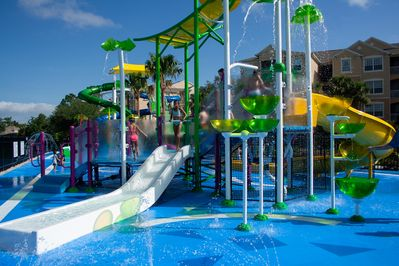 Community slides and splashpad free of charge.