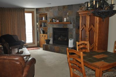 Our unit is spacious, comfortable and cozy with a gas fireplace.
