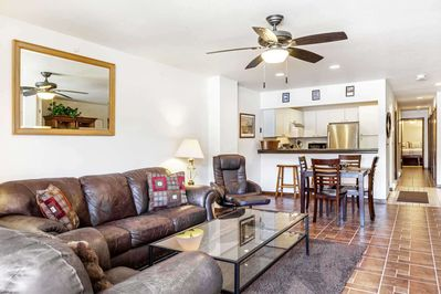 The open floor plan provides ample space to gather with friends and family.