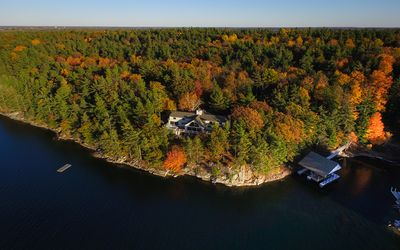 Waterfront view, Swim dock, Home, and Boat House on Lake of Isles Wellesley Is.