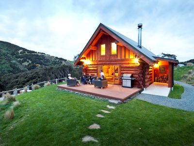 Photo for Secluded Eco-friendly Log Cabin with Steaming Outdoor Baths