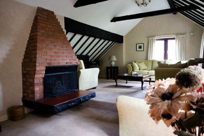 Our huge lounge with vaulted ceiling