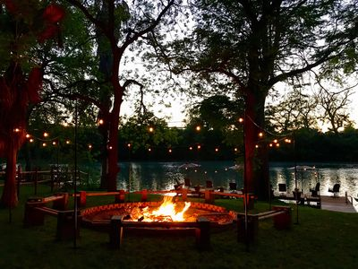 View of the river and dock from the fire pit. - Huge Family Size Lake House, Fire Pit, Larg... - VRBO