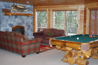 walkout lower level, gas fp and pool table