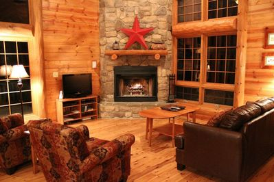 Great Room with wood-burning fireplace, HD TV, DirecTV, and DVD/BluRay player