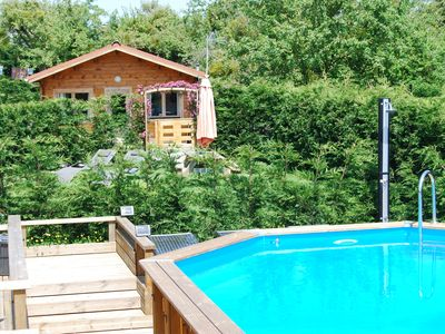 Photo for The Cabin, Les Basses Beaulinges with heated pool & sun terrace