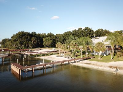 Photo for Family Lakefront Home w/ Private Sand Beach and Beautiful Sunset Views