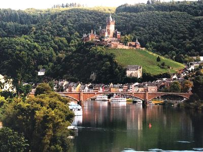 Photo for Top location with a panoramic view of the old town, Moselle, vineyards and castle Cochem