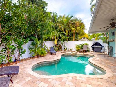 Photo for Bright and beachy house with a private pool - beach across the street!