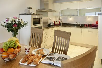 Dining area and kitchen, utensils and facilities are 5 Star Gold standard