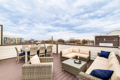 Rooftop - It offers over 900 square feet of entertainment space (including space to dine, lounge and gather) and incredible views of the city skyline!
