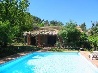 Photo for Charming country house with private swimming pool, in a quiet fenced wood