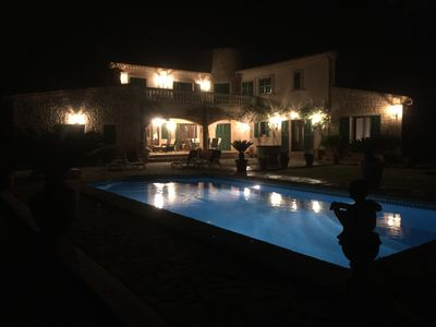 Night time around the pool and terrace