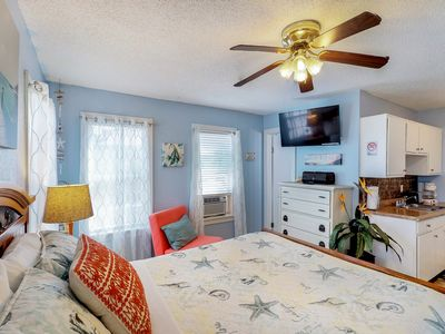 Photo for Adorable, dog-friendly studio w/ocean views - walk to the beach and dining!