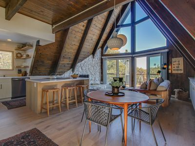 Photo for Modern A-frame w/ wet bar, pool table, large deck & amazing mountain views