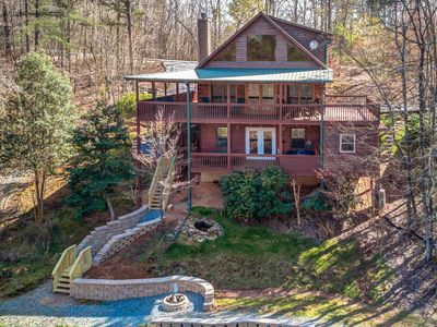 Photo for Secluded mountain cabin w/ a private hot tub, & multiple decks
