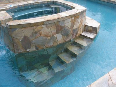 Stairs from the deep end of the pool