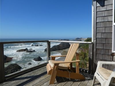 Main level deck overlooking the cove beach. Watch the sunsets in relaxed comfort