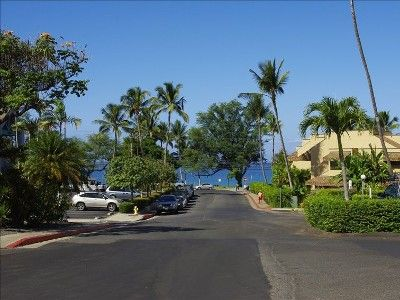 View of Kamaole beach I from the top of the complex driveway