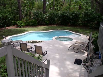 Photo for Sea Pines Heated Pool and Spa in Private Back Yard