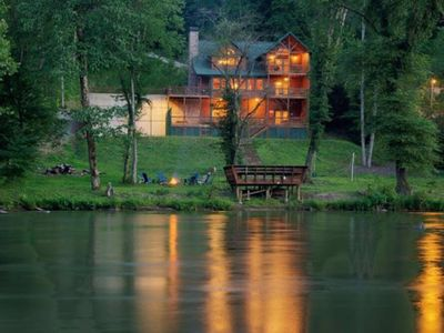 Photo for Amazing River Front Cabin, Pool table, Lit B-ball court, Fire pit, Dock