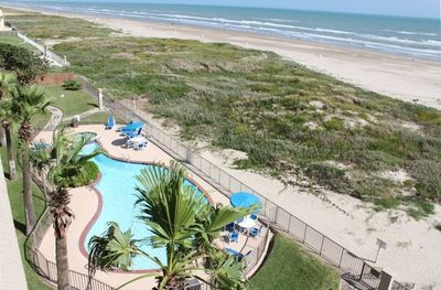 View of the Beach, Gulf of Mexico, and Pool from the Balcony of our Condominium