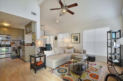 Living - The living room has modern décor and plenty of entertainment for your convenience.