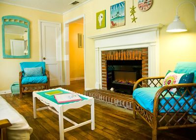 The cheerful living room welcomes you.