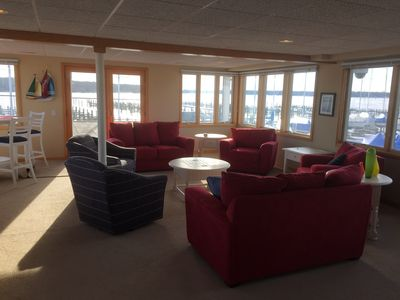 Living room overlooking Lake Macatawa and Yacht Basin Marina