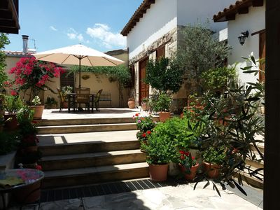 Upper patio and dichori or sitting room on the left