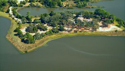 Aerial view of private 3 acre island
