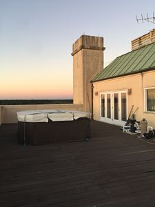 West deck with hot tub and fantastic sunsets.