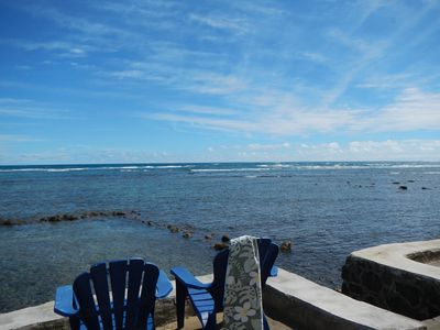 Oceanfront deck and your own private steps to the ocean and saltwater pond