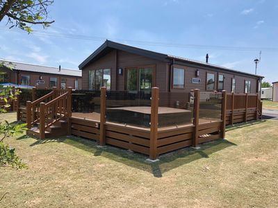 Photo for New 2018 3 Bedroom Lakeside Luxury Lodge, Private Fishing Jetty, Hot Tub