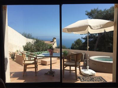 Photo for Small House quiet, 1km from MONACO, sea view, JACUZZI