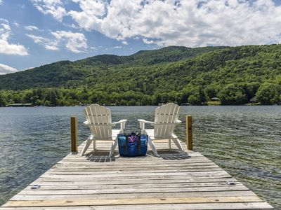 Photo for Lake Sunapee House - private waterfront with sandy bottom and mountain views
