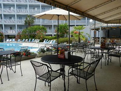 We are in bldg. 2 adjacent to the Pool grill and tiki bar.