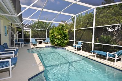 Our oversized heated pool is fenced for total privacy