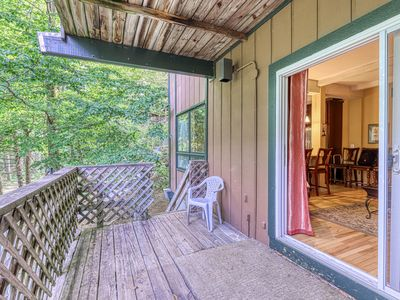 Photo for Ground-level condo w/stone fireplace + covered deck