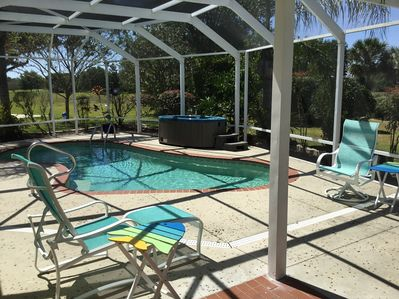 Large enclosed lanai with private pool and 2-person hot tub.