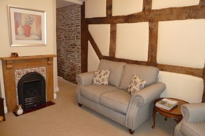 Living Room with 16C beams and gas fire